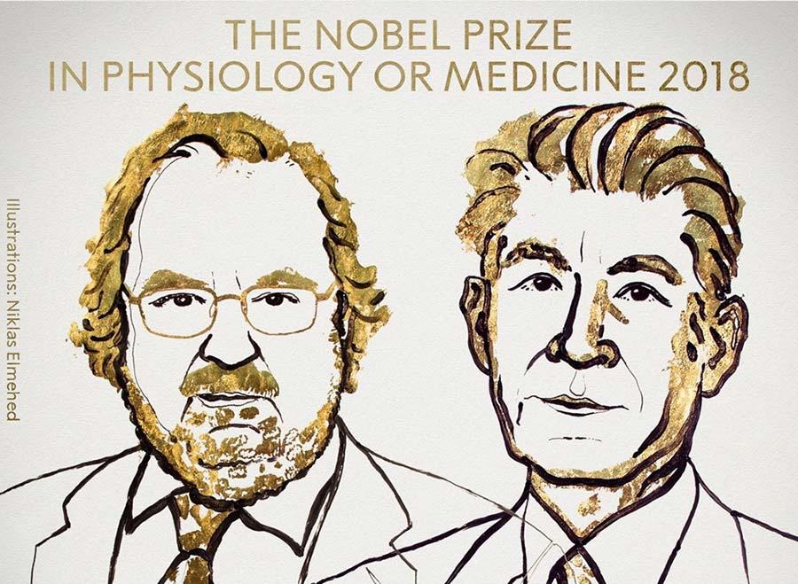 Giải Nobel Y Sinh 2018 được trao cho hai nhà nghiên cứu về hệ miễn dịch James P. Allison, người Mỹ, và Tasuku Honjo, người Nhật Bản. Ảnh: Twitter/Nobel Prize.