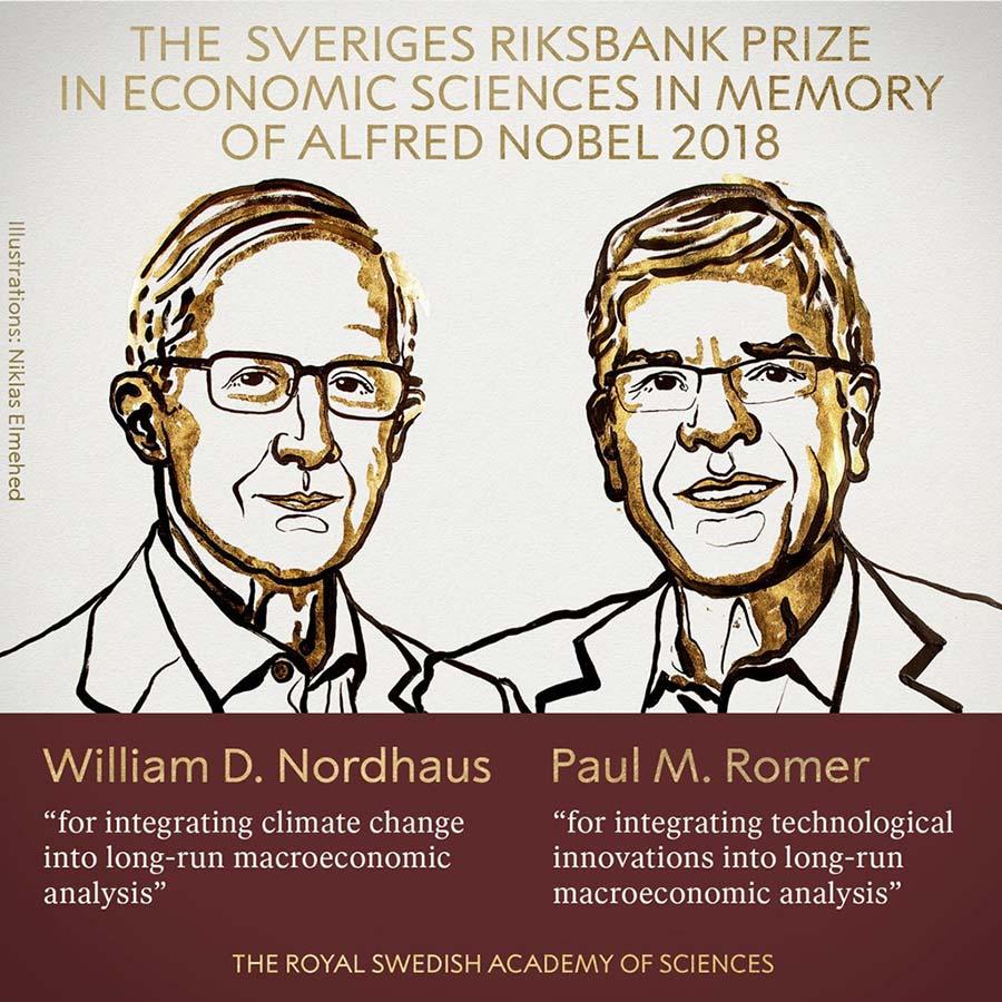 Hai người được trao giải Nobel Kinh tế 2018. Ảnh: Viện Hàn lâm Khoa học Hoàng gia Thụy Điển.